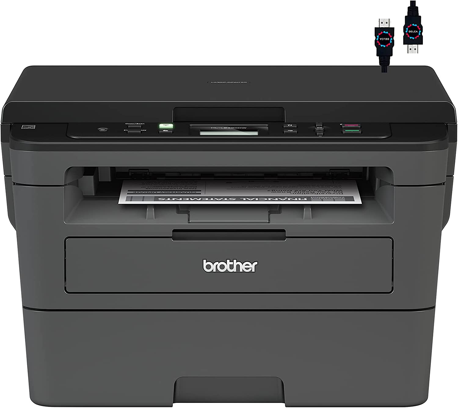 Brother Premium HL L23 Series Compact Monochrome Laser All-in-One Laser Printer I Print Scan Copy I Wireless | Mobile Printing I Auto 2-Sided Printing I Up to 32 Pages/Min + HDMI Cable