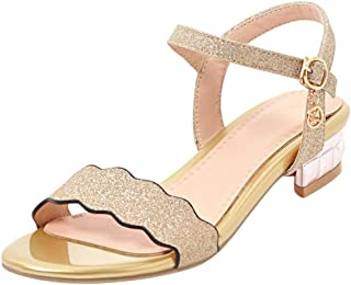 972b4bafc76 Mofri Women s Comfy Sequined Open Toe Buckle Ankle Strap Bow Block Heel  Sandals Shoes