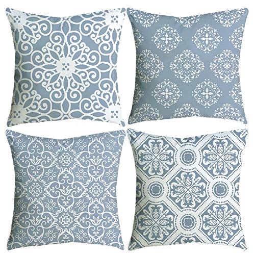 BCKAKQA Throw Pillow Covers Set of 4 Blue Grey Vintage Mandala Cushion Covers 60cm x 60cm Soft Polyester Square Decorative Throw Pillow Case for Living Room Sofa Couch Bed Pillowcases 24 x 24 inch