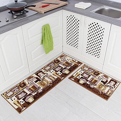 Carvapet 2 Piece Non-Slip Kitchen Mat Rubber Backing Doormat Runner Rug Set, Coffee Design (Brown 15'x47'+15'x23')