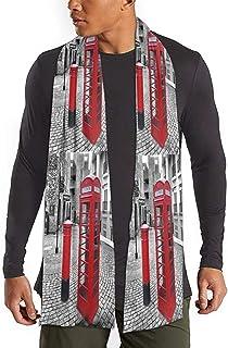Cabina telefónica roja americana Bufanda larga Bufandas ligeras cálidas Mantón unisex Antiestático Caída sin decoloración para exteriores