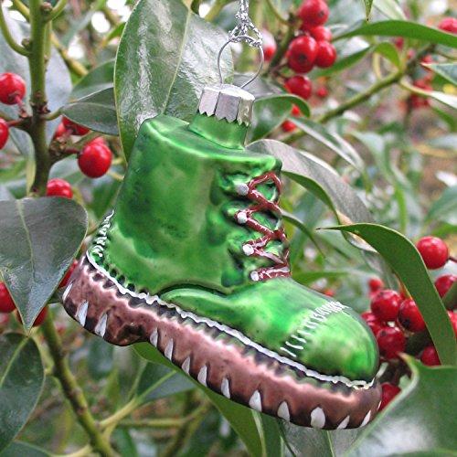 Glasanhänger Wanderschuh grün Christbaumschmuck Weihnachtsschmuck mundgeblasen