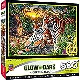 MasterPieces Hidden Image Glow 500 Puzzles Collection - Jungle Pride 500 Piece Jigsaw Puzzle