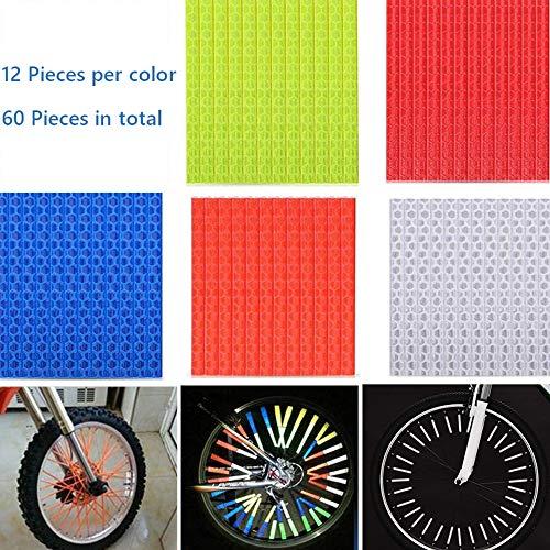 nuluxi Radfahren Rad Speiche Reflektor Fahrrad Reflektor Warnung Streifen Fahrrad Reflektoren Speichensticks für Fahrradspeichen,Reflektoren Fahrradlicht Speichensticks Fahrrad Reflektoren(60 Stück)