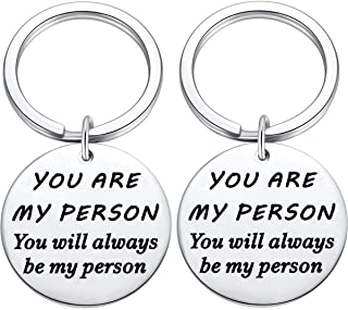 Couples Keychains Gifts for Her Him, 2PC Jewelry You Are My person Boyfriend Romantic Key Chain Gift from girlfriend, Valentine's Day Keyring Greys Fans Present
