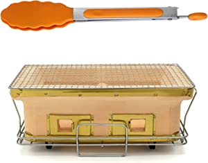 Adima Large Rectangle Yakatori Grill, Japanese Ceramic Clay Charcoal Grill Tabletop Hibachi Charcoal Stove Outdoor Camping Portable BBQ Yakitori Cooker Tailgate
