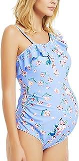 Maternity Swimsuit Womens Tankini One Shoulder Summer Ruffle Summer Bathing Suit
