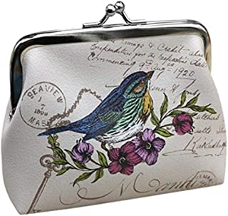 Womens Wallet, Goreway Womens Vintage Flower Mini Wallet Coin Purse Clutch Handbag (White, 12x10cm)