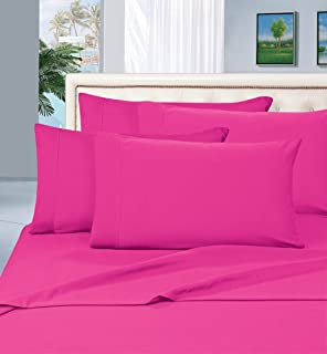 Luxurious Bed Sheets Set on Amazon! Elegant Comfort1500 Thread Count Wrinkle,Fade and Stain Resistant 4-Piece Bed Sheet Set, Deep Pocket, Hypoallergenic - King Hot Pink