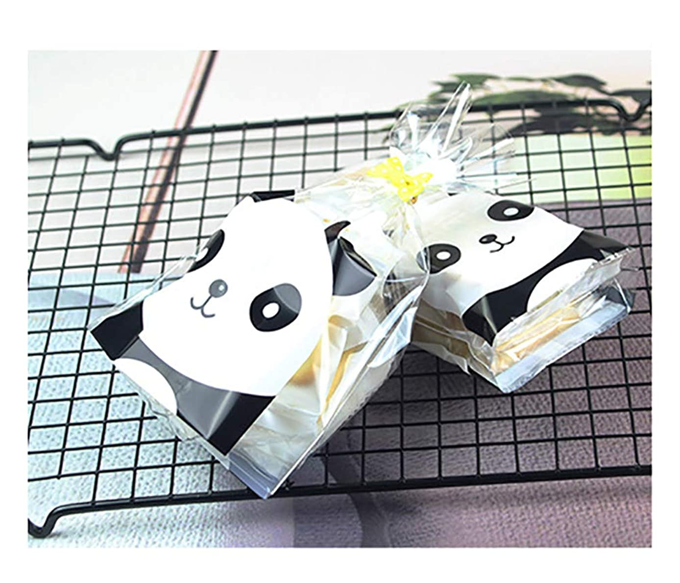 100PCS Panda Pattern Clear Cellophane Bags with 4