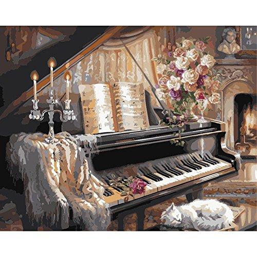 YXBNB Malen nach Zahlen DIY Schlafende Katze und Klavier Stillleben Leinwand Hochzeitsdekoration Kunst Bild Geschenk 60x75cm (KEIN Rahmen)