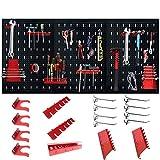 LZQ - Panel de herramientas perforado de metal con 17 ganchos (120 x 60 x 2 cm), color negro y rojo