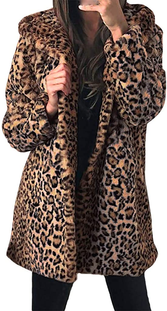 NY Womens Ladies Warm New Free Shipping Faux Fur Leopard Outer Philadelphia Mall Coat Hooded Jacket