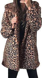 Womens Leopard Coat Fashion Faux Fur Winter Coat Turn Down Collar Jacket Cardigan Outwear E-Scenery