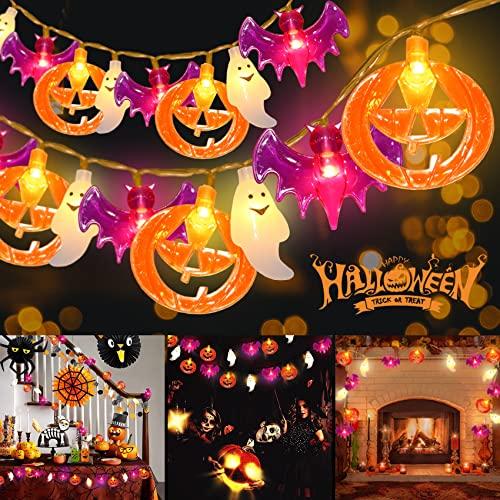 Halloween Luci Stringa, 3M 20LED Luci di Stringa di Halloween, 3D Luci di Stringa di Zucca Pipistrello Fantasma Catena Luminosa Luci di Decorazione di Halloween per Interno Esterno
