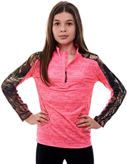 Kid's Mossy Oak Camo Impulse 1/4 Zip Performance Top – Moisture Wicking, 4 Way Stretch – Perfect Outwear and Fitness Apparel