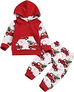 ZOELNIC Baby Girls Boys Outfit Hooded Pocket Tops + Plaid Pants Clothes Set