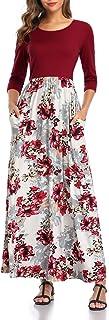 Women's Maxi Dress Floral Printed Autumn 3/4 Sleeve...