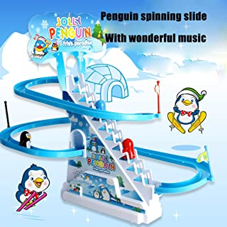 Baby Education Toys Penguin Sliding Track Puzzle Electric Race Train Track Toy with Music Puzzle Penguin Spin Slide (One Size, Multicolor)