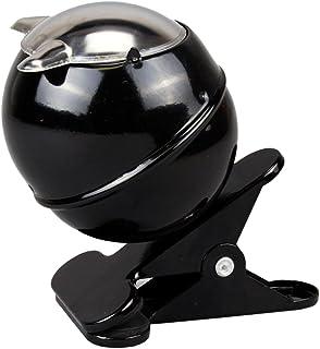 Roomando Aschenbecher Sturmaschenbecher Klemmaschenbecher mit Klammer zum Befestigen am Tisch, Balkongeländer etc. (schwarz)