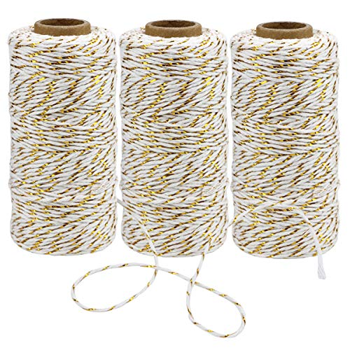 WYKOO 984 Feet Cotton Bakers Twine String, Gold Twine String, Holiday Gift Wrapping Twine, Wedding Mothers Day Gift Twine Cotton Cord Rope Gold Metallic, 3 Rolls
