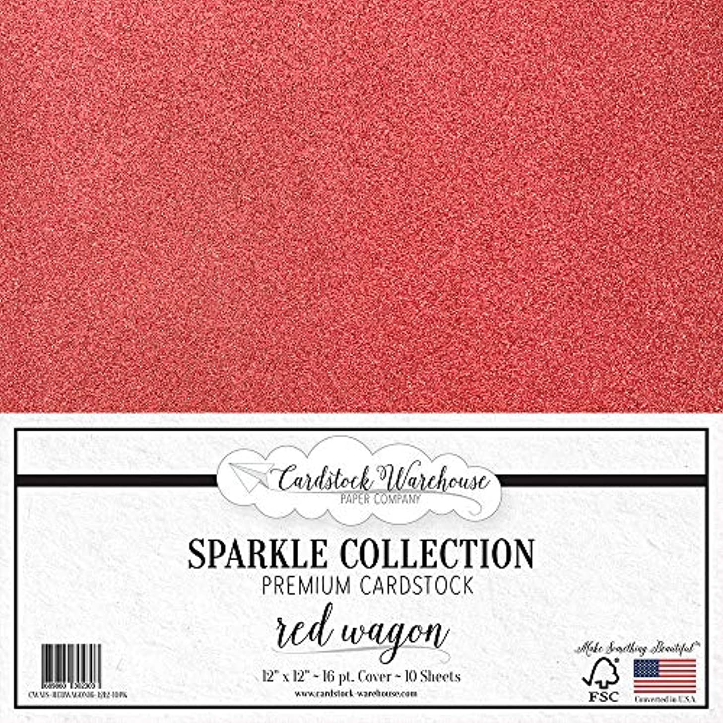 MirriSparkle Red Wagon Glitter Cardstock Paper 12