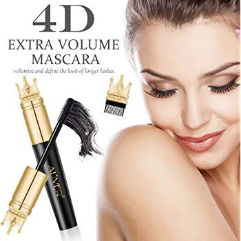 4D False Lash Effect Volumising Thickening Mascara - Longer, Thicker Lashes Waterproof, Long-Lasting, No Clumping, No Smudging - Comes with all NEW Eyelash Brush to Define Lashes with Zero Clumps
