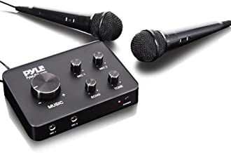 Pyle Portable Home Theater Karaoke Microphone Mixer System Complete Set with Dual Mic Settings, Two Wired Microphones, HDMI & AUX - Works with TV, Receiver, Amplifier, Speaker & More - PDWMKRHD20