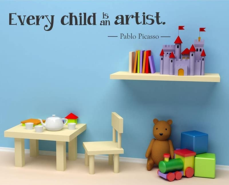 Every Child Is An Artist Wall Decal 36 W By 6 H Wall Decal Children Wall Decal Kids Artwork Decal Kids Artwork Display Artwork Display Playroom HN91 Plus Free 12 White Hello Door Decal