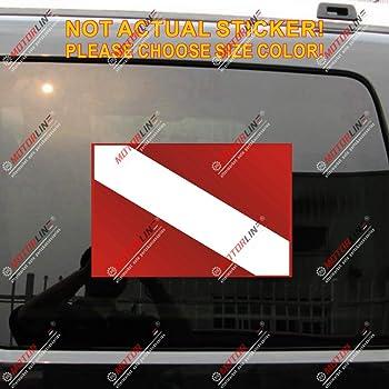 3S MOTORLINE 2X Reflective 4 Diver Down Flag Dive Scuba Decal Sticker Vinyl Rectangle
