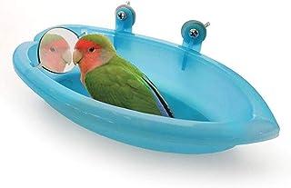 حوض استحمام للطيور مع لعبة مرآة من لاندوف للحيوانات الاليفة الصغيرة والمتوسطة الحجم مثل طائر الحب والدراء وكوكاتيل وكونيور...