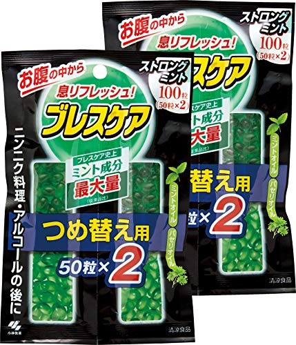 【まとめ買い】ブレスケア 水で飲む息清涼カプセル 詰め替え用 ストロングミント 100粒×2個(200粒)