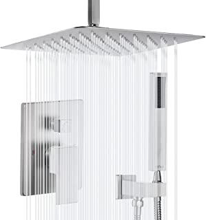 Esnbia Ceiling Shower System, Brushed Nickel Shower Faucet Set with High Pressure 12