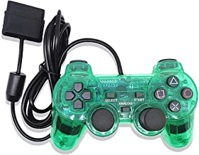 ElementDigital® Wired Game Gaming Controller for PS2, Transparent Purple Wired Game Pad Gamepad Console Joypad Controller Joysticks Compatible with PlayStation 2 (Green)