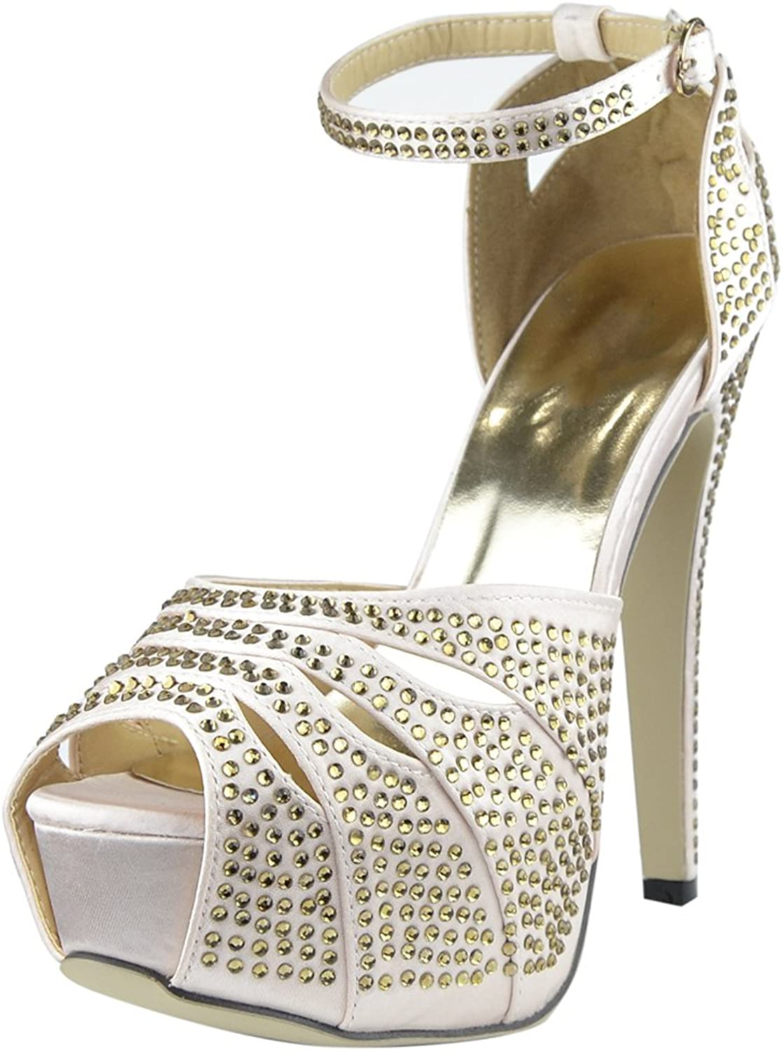 DS By KSC Womens Platform Sandals Studded Peep Toe Cutout High Heel Dress shoes Champagne