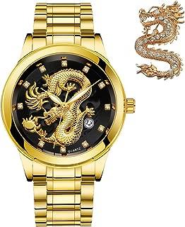 Mens-Gold-Dragon-Watches-Golden Business Casual Quartz Wristwatch Stainless Steel Strap Best Gift for Father Husband Boyfriend