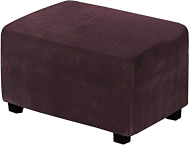 Rectangle Ottoman Slipcovers, Soft Velvet Footstool Protect Stretch Ottoman Cover Stain Resistant Footstool Cover Machine Was