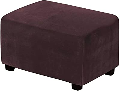 Rectangle Ottoman Slipcovers, Soft Velvet Footstool Protect Stretch Ottoman Cover Stain Resistant Footstool Cover Machine Washable-Coffee-Small
