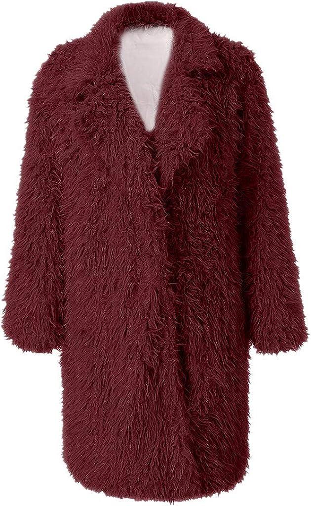 Women Long Teddy Bear Jacket Faux Fur Coat NRUTUP Longline Lapel Oversize Fuzzy Trench Coat Fluff Winter Overcoat