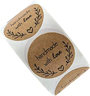 1000 pcs / 2 rolls x500 Handmade with Love Stickers, Round Kraft Paper, Self-Adhesive Stickers, Hand Made Packaging Sticke...