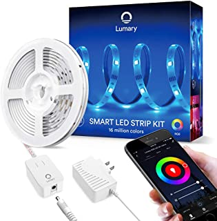 Color Changing Smart RGB Led Strip Lights - Lumary 9.8ft WiFi led Light Strip Work with Alexa Google Home Music Sync Waterproof Alexa Strip Lighting (RGB 16.4ft)