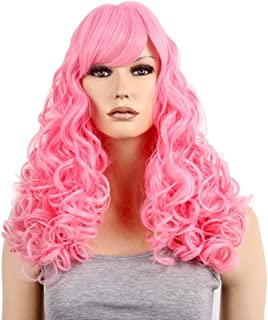 Fashian Cosplay Wig Anime Pink Female Long Curly Hair Party Wig DIY Fun (Color : Pink)