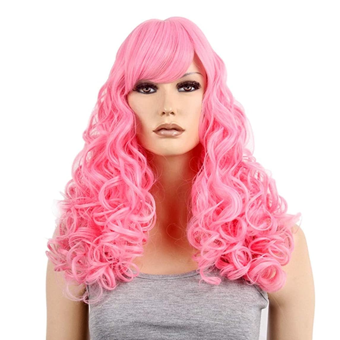 BOBIDYEE コスプレウィッグアニメピンクの女性の長い巻き毛のかつらのかつら合成髪のレースのかつらロールプレイングかつら (色 : ピンク)