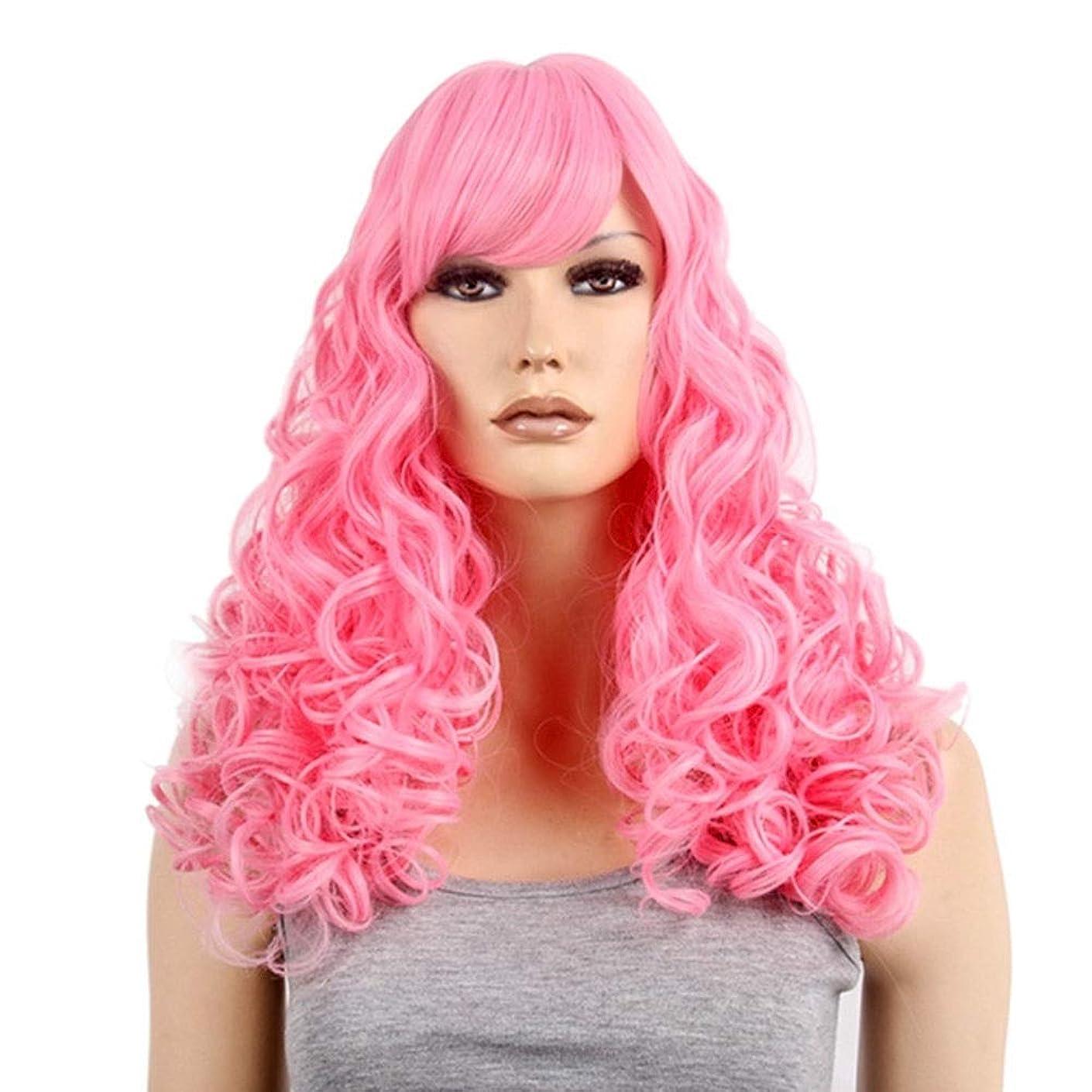 クラブ抜本的なファンブルBOBIDYEE コスプレウィッグアニメピンクの女性の長い巻き毛のかつらのかつら合成髪のレースのかつらロールプレイングかつら (色 : ピンク)