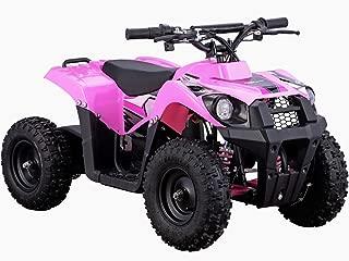 MotoTec 36v 500w ATV Monster v6 Blue Kids Children 36V Mini Quad ATV Dirt Motor Bike Electric Battery Powered, 5 Colors (Pink)