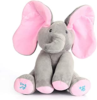 Yudit Plush Toy peek-a-Boo Elephant, Hide and Seek Game Baby Animated Flappy Ear Elephant Plush Toy Stuffed Animals for Babies (Gray+Pink)