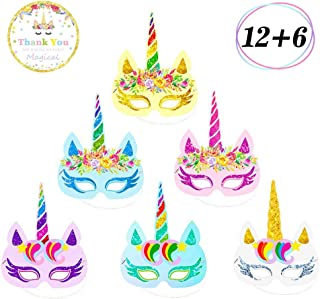 Yaaaaasss! 12 Pcs Rainbow Unicorn Masks Kids Birthday Unicorn Party Favors with Unicorn Theme Party Decor 6 pcs Thank You Stickers