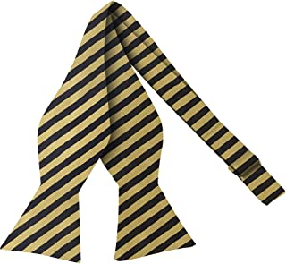 TieMart Boys Navy Blue and Golden Yellow Striped Bow Tie