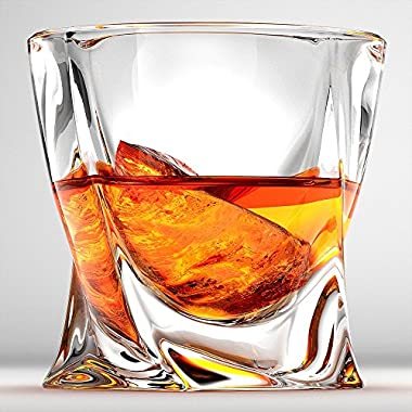 Twist Whiskey Glasses, Scotch Glasses By Ashcroft - Set Of 2. Unique, Elegant, Dishwasher Safe, Glass Liquor or Bourbon Tumblers. Ultra-Clarity Glassware.