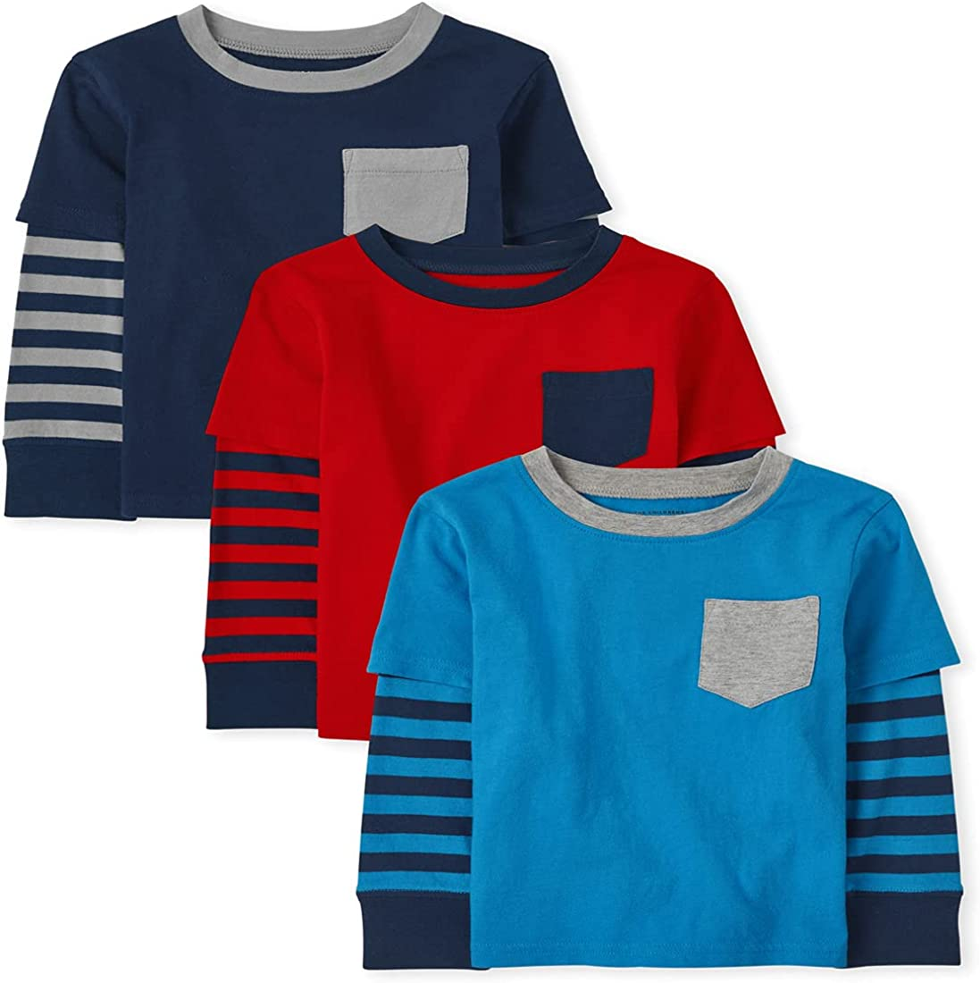 The Children's Place and Toddler Boy Long Striped Sleeve 2 In 1 Top 3-Pack